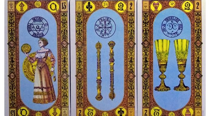 Stairs of Gold: Queen of Coins, 2 of Staves, & 2 of Cups.