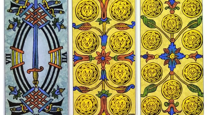 Universal Tarot of Marseille: 7 of Swords, 8 of Deniers, & 10 of Deniers