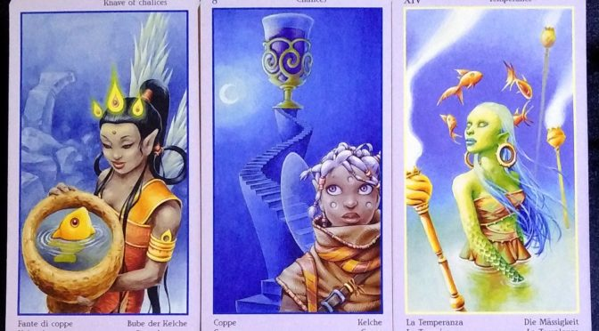 Fey Tarot: Knave of Chalices, 8 of Chalices, & Temperance [XIV].