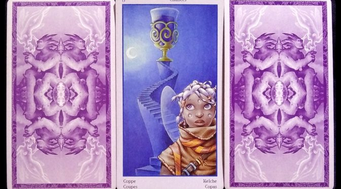 Fey Tarot: (card back), 8 of Chalices, & (card back).