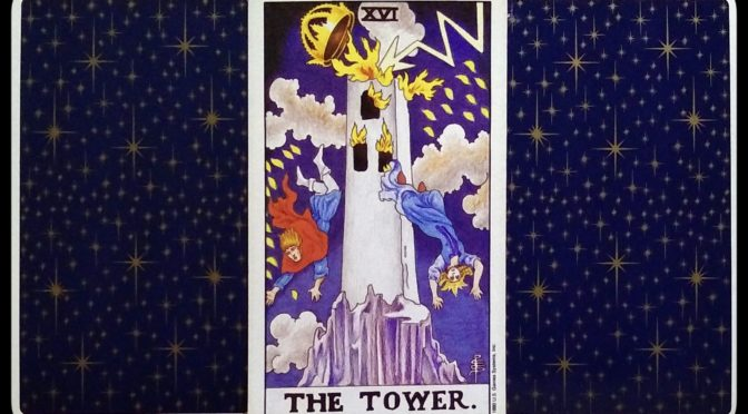 Universal Waite: (card back), The Tower [XVI], & (card back).