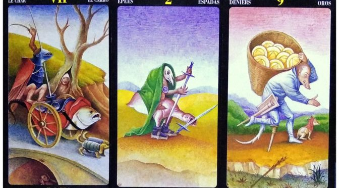 Bosch Tarot: The Chariot [VII], 2 of Swords, & 9 of Pentacles.