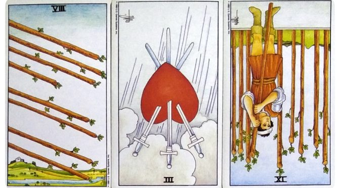 Universal Waite: 8 of Wands, 3 of Swords (reversed), & 9 of Wands (reversed).