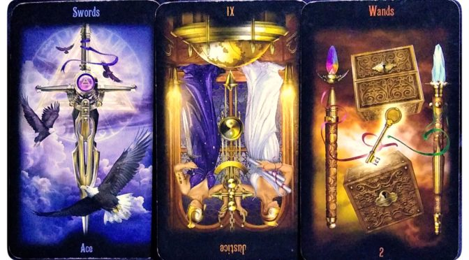 Legacy of the Divine: Ace of Swords, Justice [XI] (reversed), & 2 of Wands.