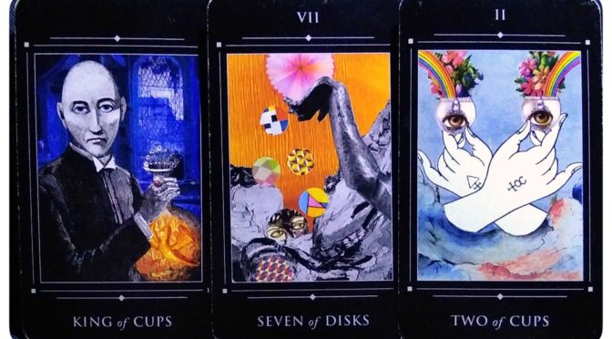 Red Magician Tarot: King of Cups, Seven of Disks, & Two of Cups.