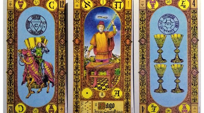 Stairs of Gold: Knight of Cups, The Magician [I], & 4 of Cups.