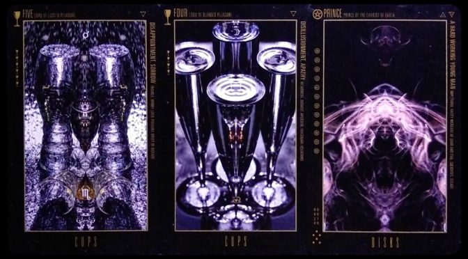 Wyzard of Odd: Five of Cups, Four of Cups, & Prince of Disks.