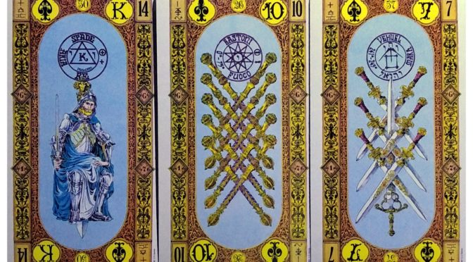 Stairs of Gold: King of Swords, 10 of Staves, & 7 of Swords.