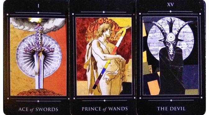 Red Magician Tarot: Ace of Swords, Prince of Wands, & The Devil [XV].