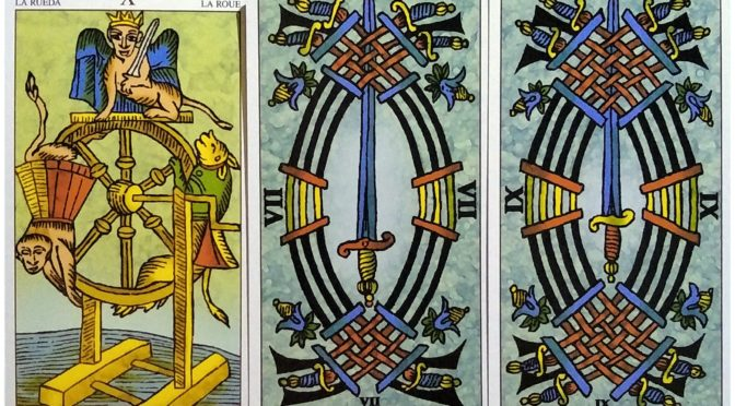 Universal Tarot of Marseille: The Wheel [X], 7 of Swords, & 9 of Swords.