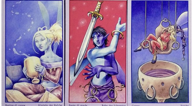 Fey Tarot: Queen of Chalices, Knave of Swords, & 4 of Chalices.