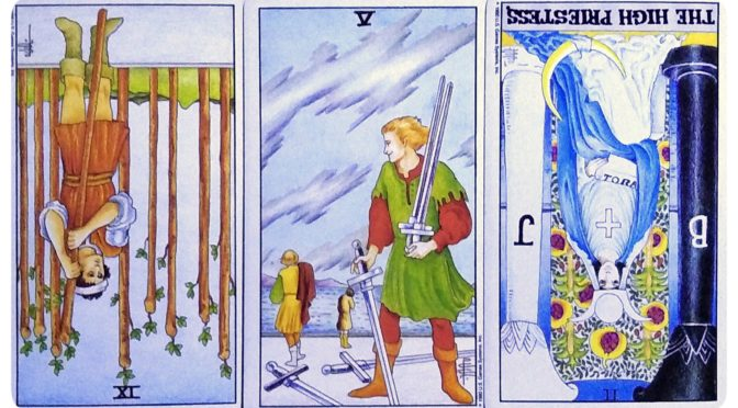 Universal Waite: 9 of Wands (reversed), 5 of Swords, & The High Priestess [II] (reversed).