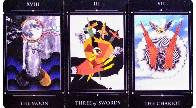 Red Magician Tarot: The Moon [XVIII], Three of Swords, & The Chariot [VII].
