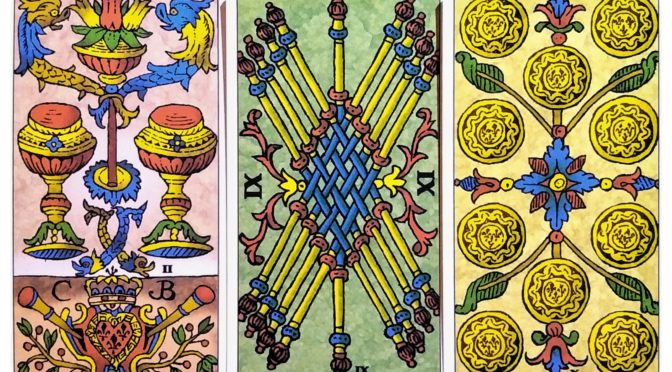 Universal Tarot of Marseille: 2 of Cups, 9 of Batons, & 10 of Deniers.