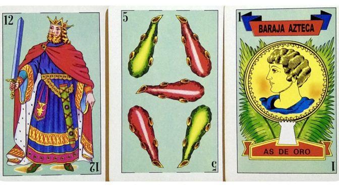 Baraja Azteca: 12 Espadas, 5 Bastos, & 1 Oro.
