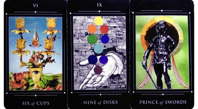 Red Magician Tarot: Six of Cups, Nine of Disks, & Prince of Swords.