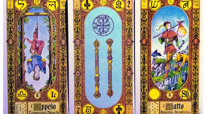 Stairs of Gold: The Hanged Man [XII], 2 of Staves, & The Fool [0].