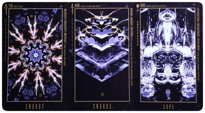 Wyzard of Odd: Ten of Swords, Nine of Swords, & Nine of Cups.