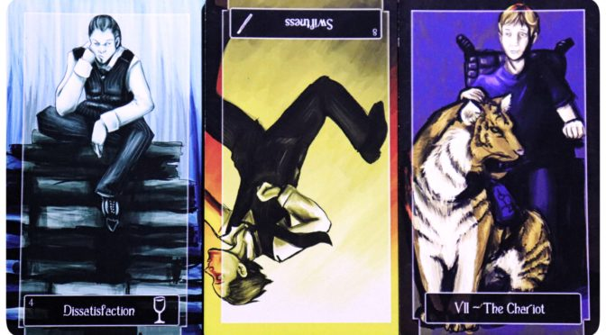 Sweeney Tarot: 4 of Cups, 8 of Wands (reversed), & The Chariot [VII].