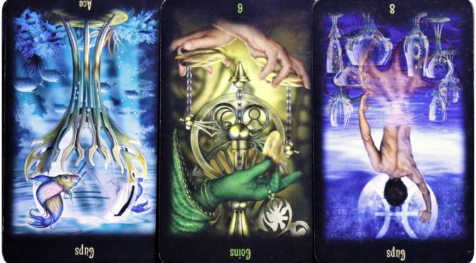 Legacy of the Divine: Ace of Cups (reversed), 6 of Coins (reversed), & 8 of Cups (reversed).