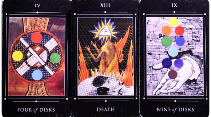Red Magician Tarot: Four of Disks, Death [XIII], & Nine of Disks.