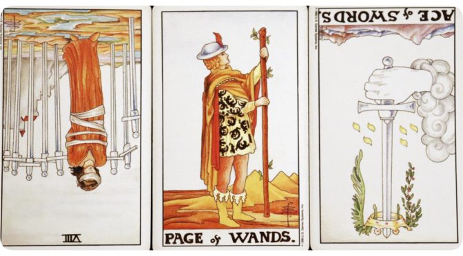 Universal Waite: 8 of Swords (reversed), Page of Wands, & Ace of Swords (reversed).