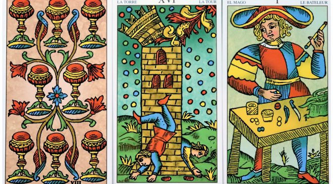 Universal Tarot of Marseille: 8 of Cups, The Tower [XVI], & The Magician [I].