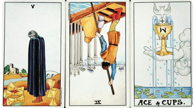 Universal Waite: 5 of Cups, 6 of Swords (reversed), & Ace of Cups.