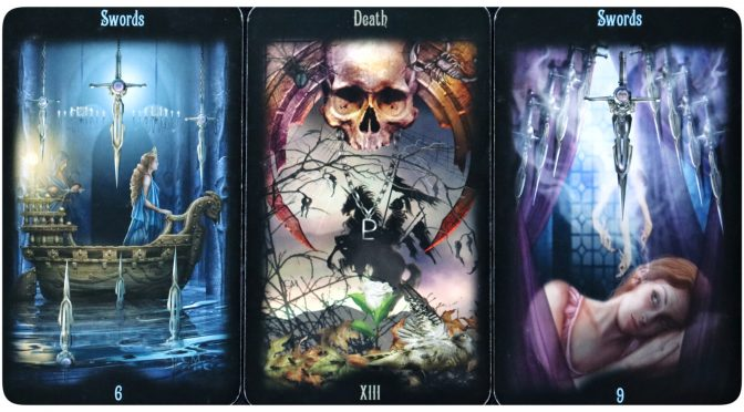 Legacy of the Divine: 6 of Swords, Death [XIII], & 9 of Swords.