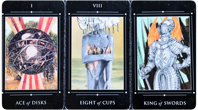 Red Magician Tarot: Ace of Disks, Eight of Cups, & King of Swords.