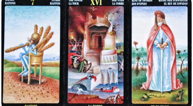 Bosch Tarot: 7 of Wands, The Tower [XVI], & King of Swords.