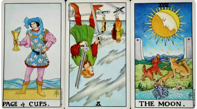 Universal Waite: Page of Cups, 5 of Swords, (reversed), & The Moon [XVIII].
