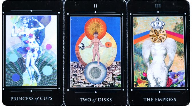 Red Magician Tarot: Princess of Cups, Two of Disks, & The Empress.
