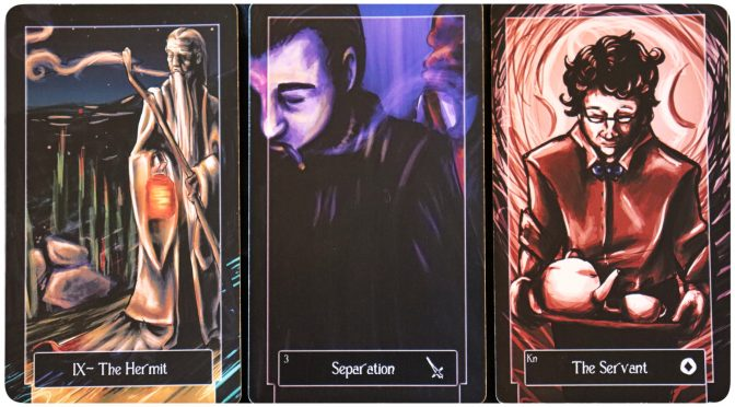 Sweeney Tarot: The Hermit [IX], 3 of Swords, & Knight of Coins.