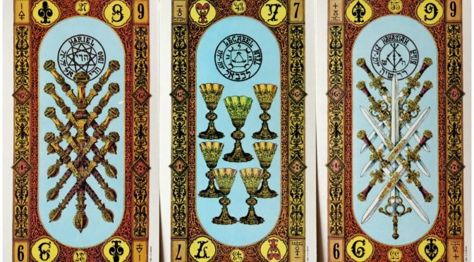 Tavaglione's Stairs of Gold: 9 of Staves, 7 of Cups, & 9 of Swords.