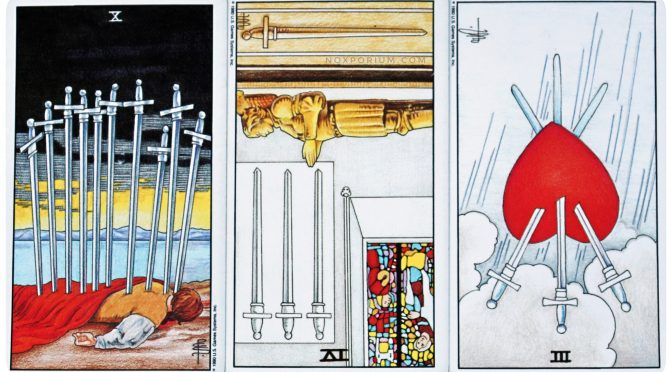 10 of Swords, 4 of Swords (reversed), & 3 of Swords (reversed). The Universal Waite Tarot is ©US Games Systems, Inc.