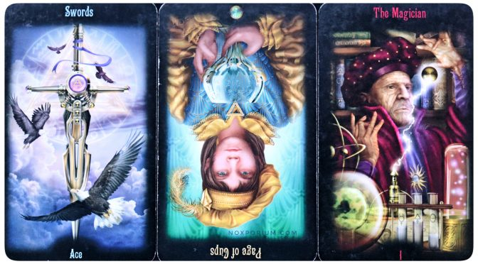 Legacy of the Divine: Ace of Swords, Page of Cups (reversed), & The Magician [I]. The Legacy of the Divine is ©Llewellyn Worldwide.