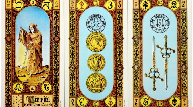The Hermit [IX], 3 of Coins, & 2 of Swords. Tavaglione's Stairs of Gold Tarot is ©US Games Systems.