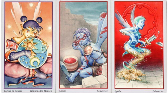 Fey Tarot: Queen of Pentacles, 4 of Swords, & 10 of Swords. The Fey Tarot is ©Lo Scarabeo.