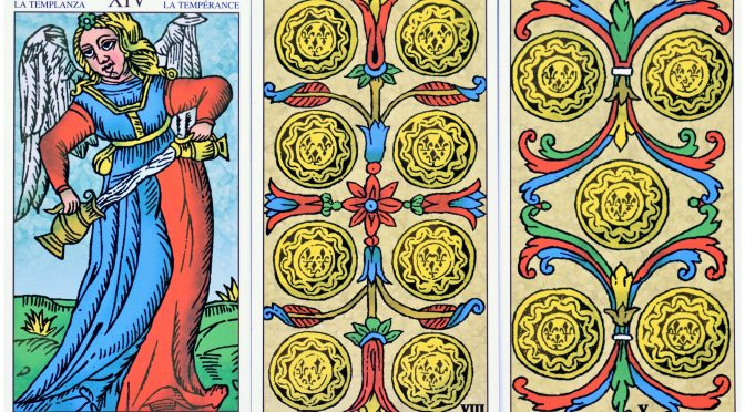 Universal Tarot of Marseille: Temperance [XIV], 8 of Deniers, & 5 of Deniers. ©Lo Scarabeo