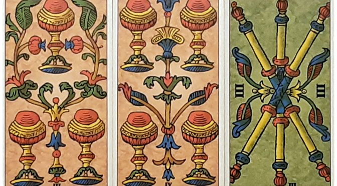 Universal Tarot of Marseille: 3 Cups, 4 Cups, & 3 Batons. ©Lo Scarabeo.