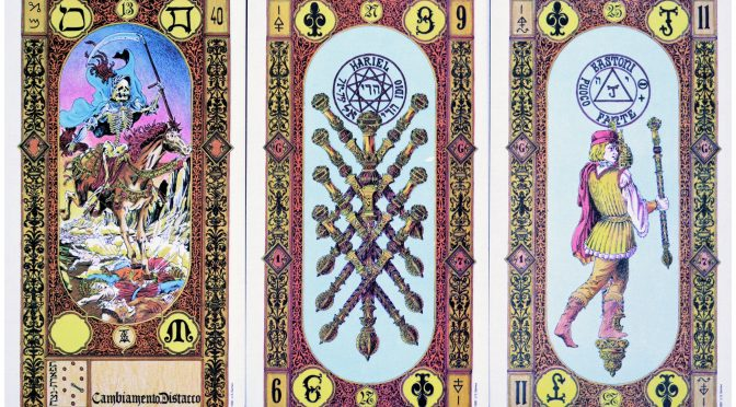 Legacy of the Divine: Death [XIII], 9 of Staves, & Page of Staves. ©US Games Systems.
