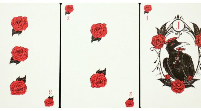 Corvid Romantic Playing Cards: 3 of Roses, 2 of Roses, & Jack of Roses. ©Megan Weber.