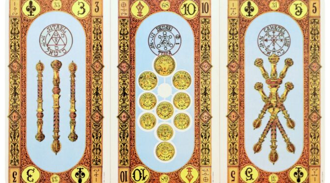 Stairs of Gold: 3 of Staves, 10 of Coins, & 5 of Staves. ©US Games Systems.
