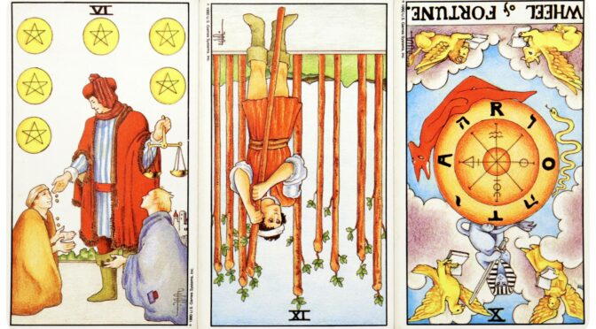 Universal Waite: 6 of Pentacles, 9 of Wands (reversed), & Wheel of Fortune [X] (reversed). ©US Games Systems, Inc.