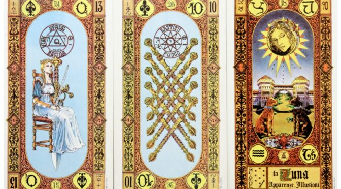 Stairs of Gold: Queen of Swords, 10 of Staves, & The Moon [XVIII]. ©US Games Systems.