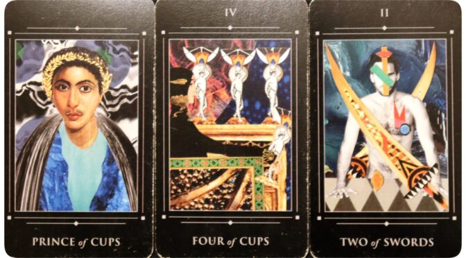 Red Magician Tarot: Prince of Cups, Four of Cups, & Two of Swords. ©Jay LeRoy.