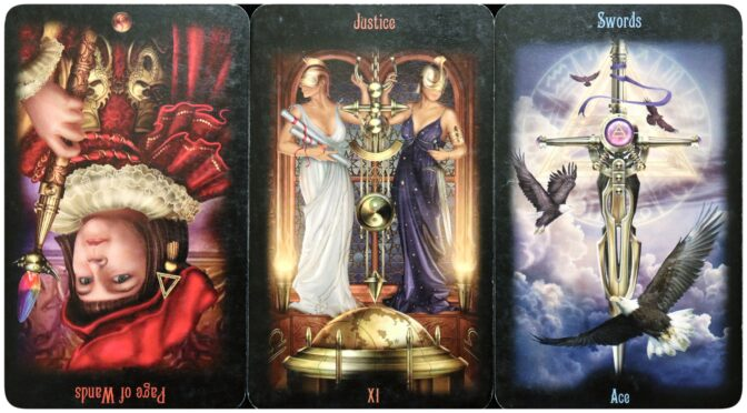 Legacy of the Divine: Page of Wands (reversed), Justice [XI], & Ace of Swords. ©Llewellyn Worldwide.