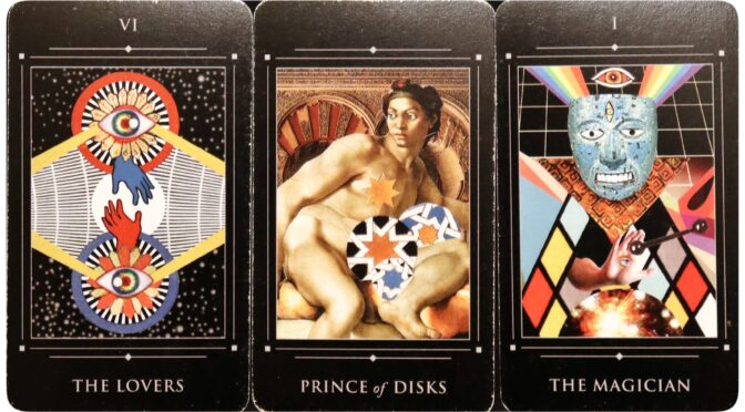 Red Magician Tarot: The Lovers [VI], Prince of Disks, & The Magician [I]. ©Jay LeRoy.