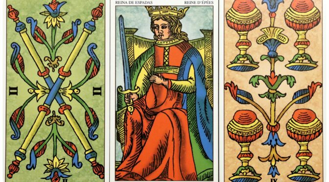 Universal Tarot of Marseille: 2 of Wands, Queen of Swords, & 4 of Cups. ©Lo Scarabeo.
